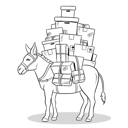 Donkey loaded parcels coloring vector illustration