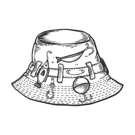 Fisherman hat engraving vector illustration. Scratch board style imitation. Black and white hand drawn image. Иллюстрация