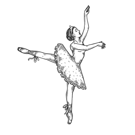 Ballet dancer woman engraving vector illustration. Scratch board style imitation. Black and white hand drawn image.