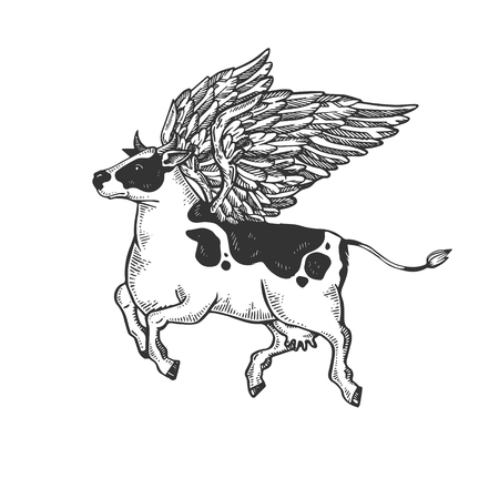 Fake flying cow farm animal engraving vector illustration. Scratch board style imitation. Black and white hand drawn image.