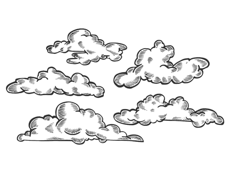 Clouds engraving vector illustration.