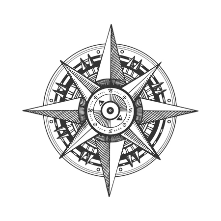 Medieval wind rose engraving vector illustration. Scratch board style imitation. Black and white hand drawn image. 向量圖像