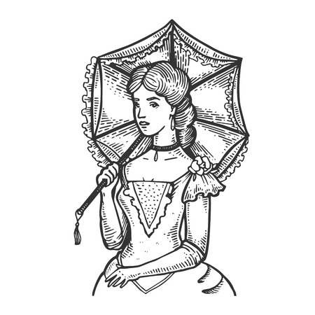 Old fashioned girl with vintage sun umbrella engraving vector illustration. Scratch board style imitation. Black and white hand drawn image.