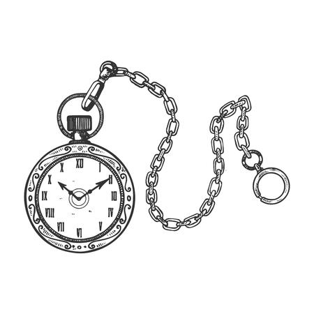 Old fashioned vintage orologio orologio incisione illustrazione vettoriale. Imitazione in stile gratta e vinci. Immagine disegnata a mano in bianco e nero.