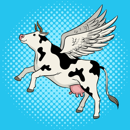 Fake flying cow farm animal pop art retro vector illustration. Comic book style imitation.