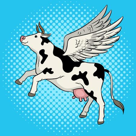 Fake flying cow farm animal pop art retro vector illustration. Comic book style imitation.