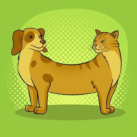 Cat dog fake animal pop art retro vector illustration. Comic book style imitation.