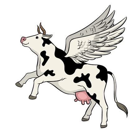 Fake flying cow farm animal pop art retro vector illustration. Isolated image on white background. Comic book style imitation. Illustration