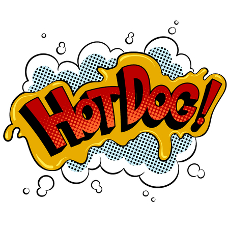 Hot dog word pop art retro vector illustration. Isolated image on white background. Comic book style imitation.