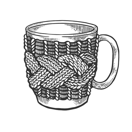 Cup with handmade fancywork engraving vector