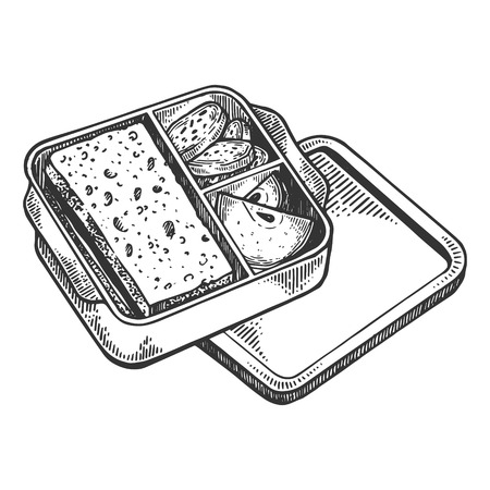 Lunchbox with food engraving vector illustration. Scratch board style imitation. Black and white hand drawn image.