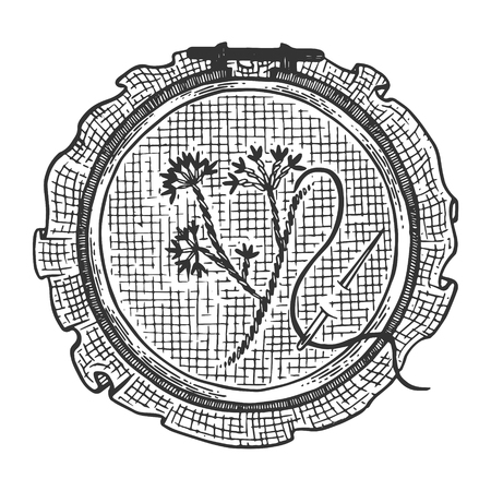 Fancywork cross stitch handmade engraving vector illustration. Scratch board style imitation. Black and white hand drawn image.  イラスト・ベクター素材