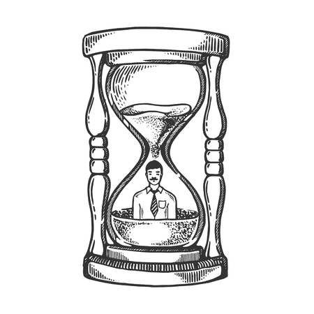 Sand watch glass with man engraving vector Illustration