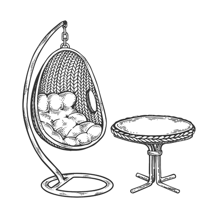 Pendant chair engraving vector illustration. Scratch board style imitation. Black and white hand drawn image. Иллюстрация