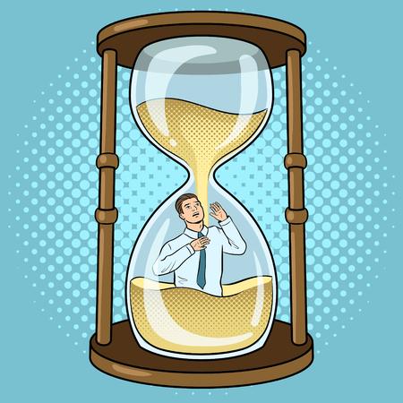 Sand watch glass with man pop art vector Illustration