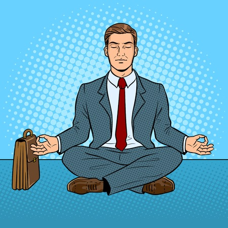 Meditating businessman pop art retro