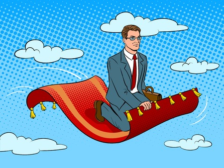 Businessman flying on magic carpet pop art retro vector illustration. Comic book style imitation.