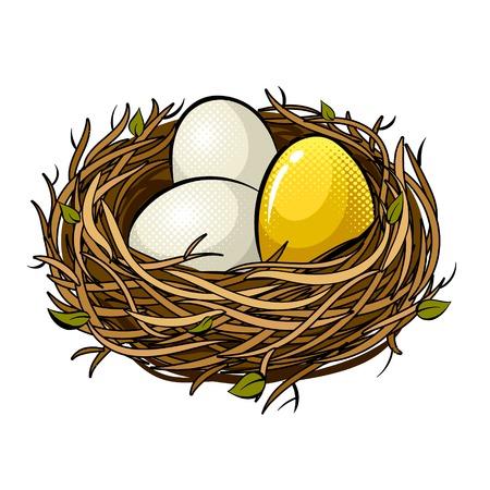 Nest mit goldener Ei-Pop-Art-Retro-Vektorillustration. Isoliertes Bild auf weißem Hintergrund. Nachahmung im Comic-Stil.