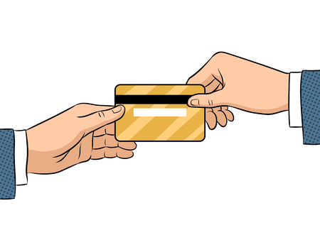 Hand give bank card pop art retro vector illustration. Isolated image on white background. Comic book style imitation.