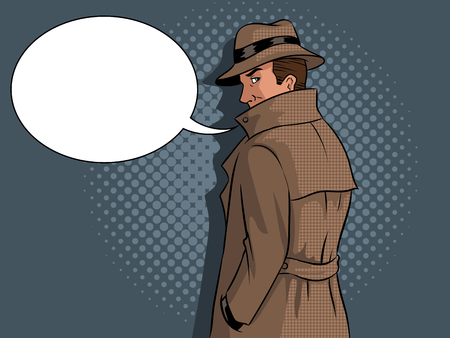 Spy in raincoat and hat pop art retro vector illustration. Text bubble. Comic book style imitation. 写真素材
