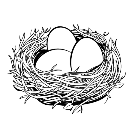 Nest with golden egg coloring illustration