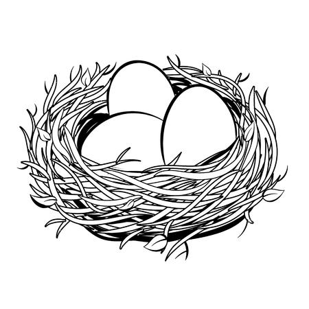 Nest with golden egg coloring illustration