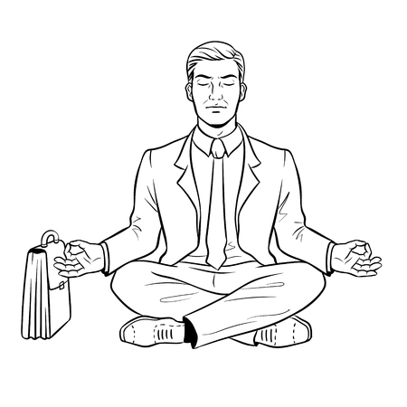 Meditating businessman coloring vector