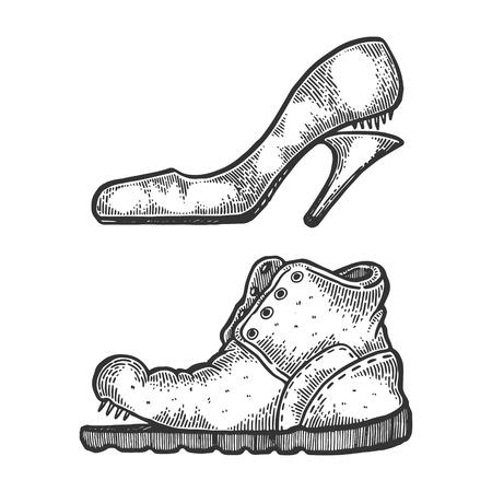Broken footwear shoes engraving vector