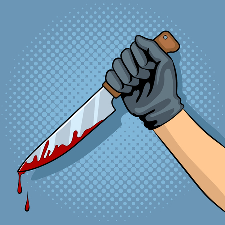 Bloody knife in hand pop art vector illustration Çizim