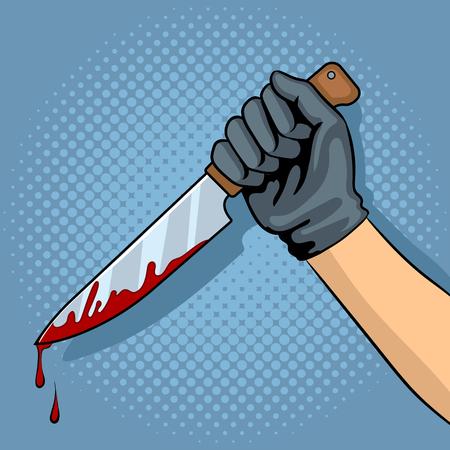 Cuchillo ensangrentado en la ilustración de vector de arte pop de mano