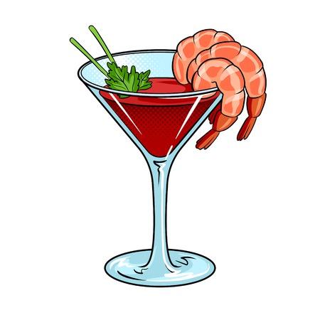 Ilustración de vector de arte pop de cóctel de camarones