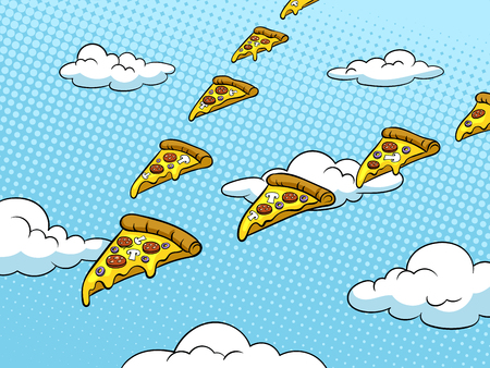 Pizza slices fly like flock of birds pop art retro vector illustration. Color background. Comic book style imitation. Illusztráció