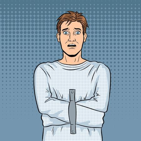 Man in straitjacket pop art retro vector illustration. Comic book style imitation. Stock Illustratie