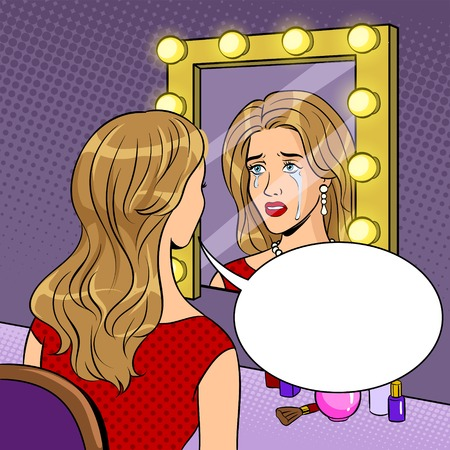 Crying actress woman near mirror pop art vector