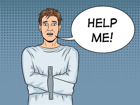 Man in straitjacket pop art vector illustration Banque d'images - 102236792
