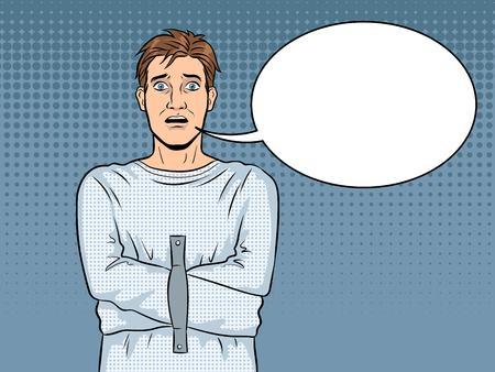 Man in straitjacket pop art vector illustration