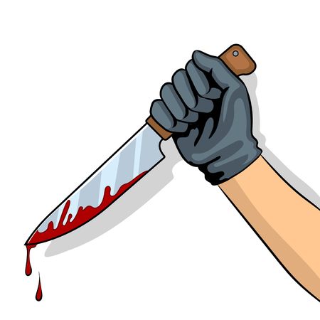Bloody knife in hand pop art vector illustration Illustration