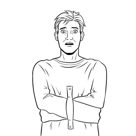 Man in straitjacket coloring vector illustration