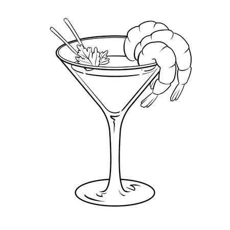Shrimp cocktail coloring vector illustration