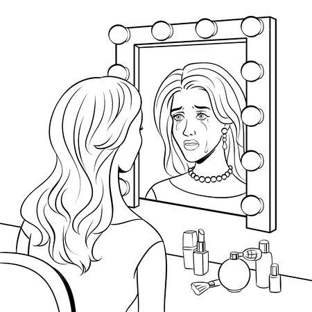 Crying actress woman near mirror coloring vector
