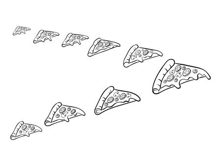 Pizza slice like bird coloring vector illustration Stock Photo
