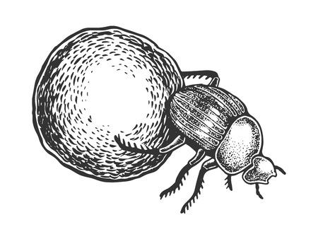 Dor bug beetle engraving vector illustration