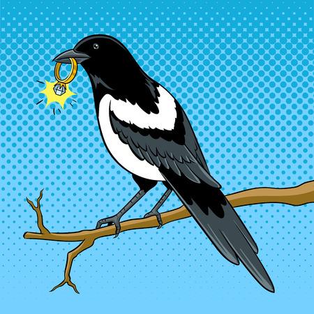 Ekster vogel met gouden ring popart vector