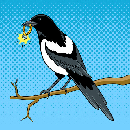 Magpie bird with golden ring pop art vector Illustration