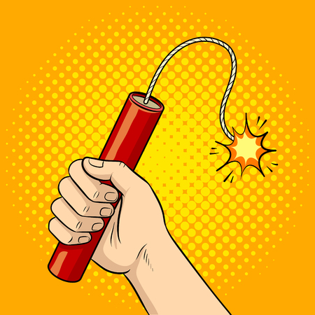 Hand with dynamite pop art vector illustration Vettoriali