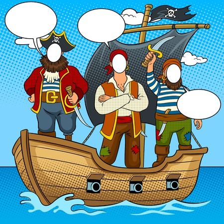 Tantamaresque pirates on boat pop art vector