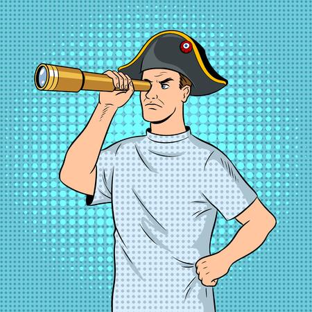 Geesteszieke man als piraat Napoleon popart vector