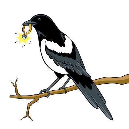 Elstervogel mit goldenem Ring Pop-Art-Vektor
