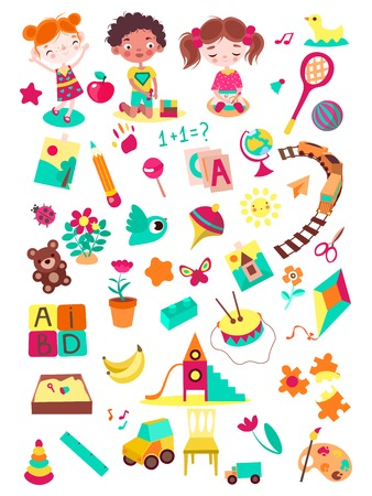 Cartoon kindergarten elements vector illustration