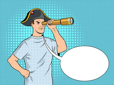 Mentally ill man as pirate Napoleon pop art vector Stock Photo